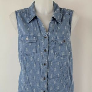 NWT Style & Co Blue Pineapple Tank Top Size 1X